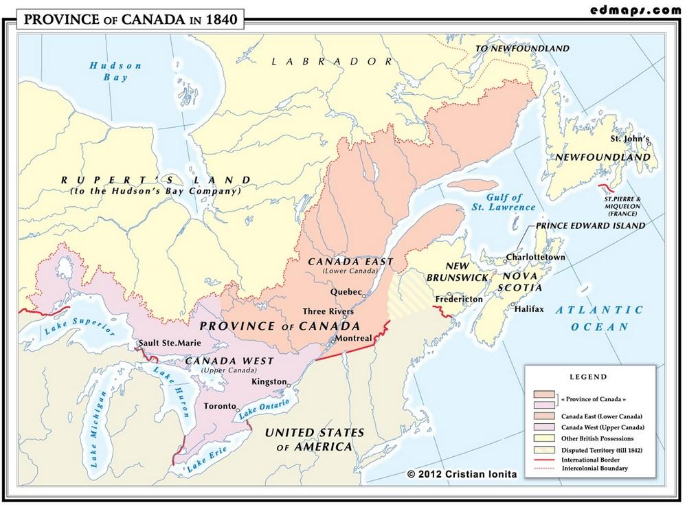 Провинция Канада в 1840 году
