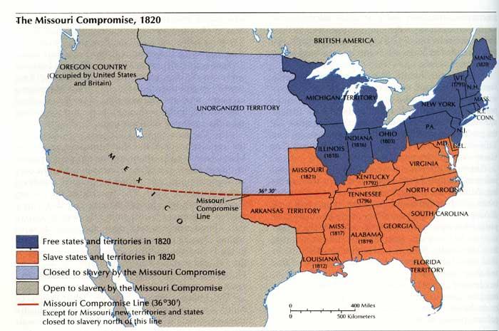 Раздел США по условиям Миссурийского компромисса, 1820