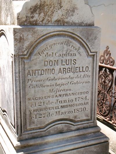 Могила дона Луиса-Антонио Аргуэльо на кладбище Миссии святого Франциска Ассизского